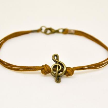 Treble clef bracelet for men, men's..