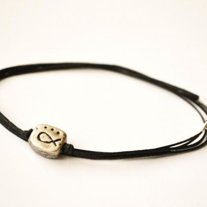 Men's bracelet - Black wrap cord br..