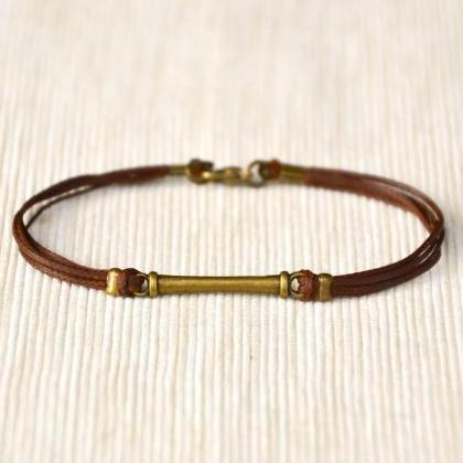 Men's bracelet, brown cord bracelet..