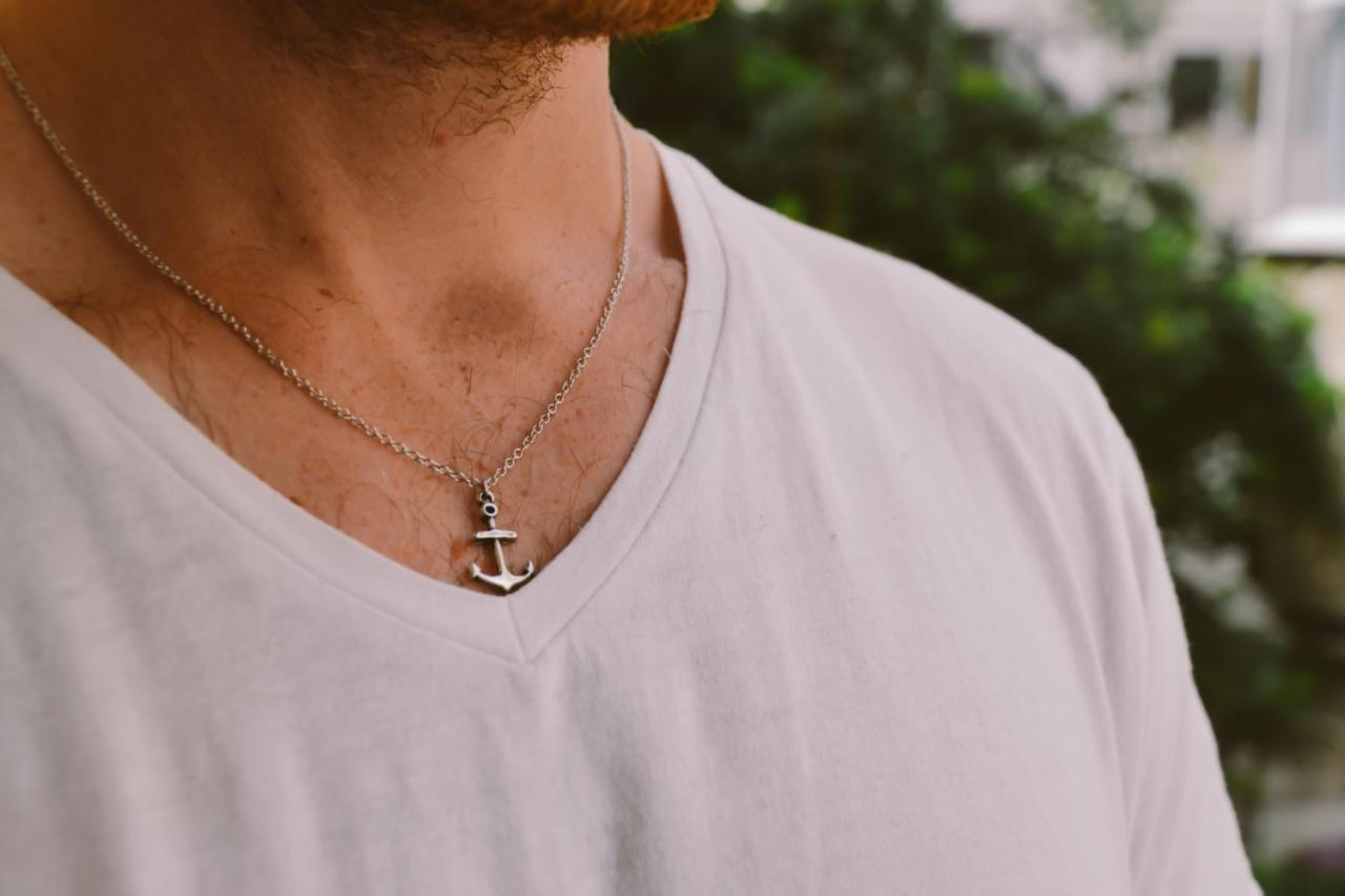 Anchor necklace for men, groomsmen gift, men's necklace with a silver anchor pendant, silver chain, gift for him, nautical necklace, surfer