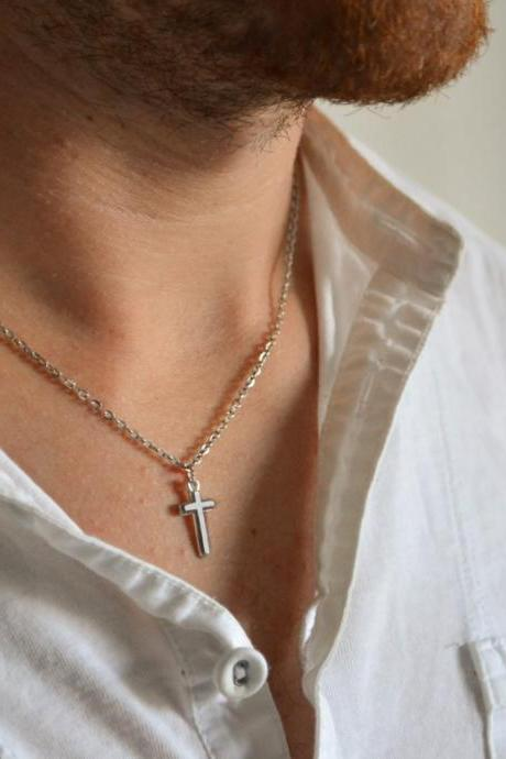 Cross necklace for men, groomsmen gift, men's necklace with a silver cross pendant, silver chain, gift for him, christian catholic necklace