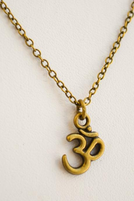 Om necklace for men, men's bronze chain necklace, gift for him, bronze Om charm necklace, jewelry for men, yoga, hindu, buddhist charm