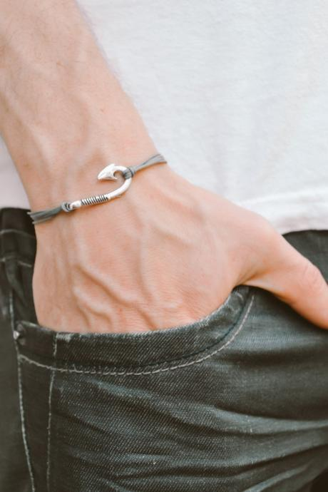 Men's bracelet, gray cord bracelet for men with silver hook charm, grey cord, bracelet for men, fish hook, gift for him, mens jewelry