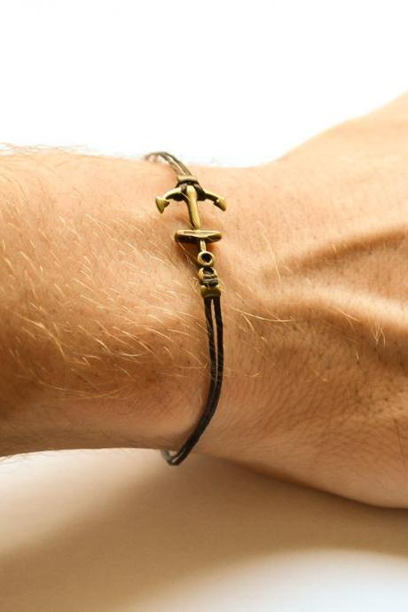 Anchor bracelet for men, men's bracelet, bronze anchor charm, black cord, gift for him, sailor bracelet, nautical jewelry, surfer bracelet