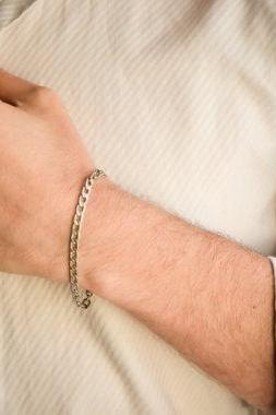 cuban link bracelet, Silver links chain bracelet for men, flat chain, groomsmen gift, mens jewelry, gift for dad, silver