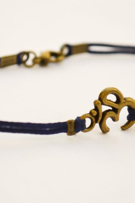 OM bracelet for men, men's bracelet with bronze tone brass Om charm, blue cord, Hindu symbol, ohm, gift for him, yoga bracelet, buddhist