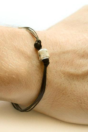 Black cord bracelet - men's bracelet with a silver plated tube charm and a black cord - bracelet for men, gift for him, stack bracelet