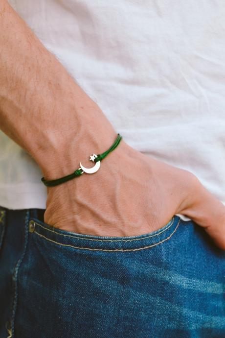 Men's bracelet, silver crescent moon charm, green cords, bracelet for men, gift for him, moon star bracelet, clasp, mens jewelry