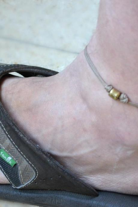 Anklet for men - men's anklet with a bronze tube charm and a brown cord - anklet for men, gift for him, men's ankle bracelet