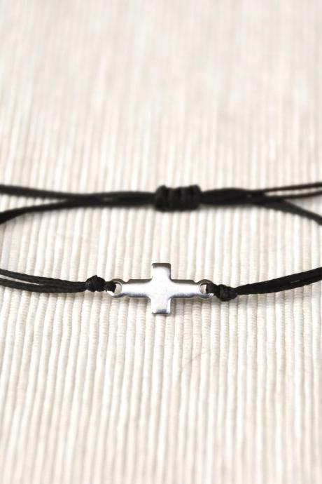 Bracelet for her, cross bracelet, women bracelet, stainless steel silver tone cross charm, christian catholic jewelry, black, gift for her