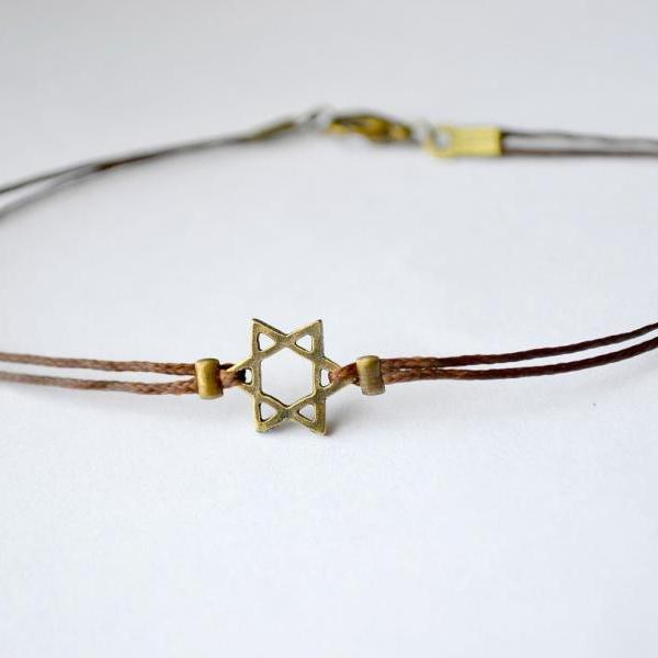 Hanukkah gift, Star of David men's bracelet, bronze, brown bracelet for men, Bar Mitzvah gift, Jewish, Hebrew Jewelry from Israel, spiritual