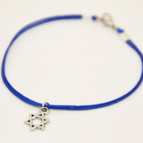 Hanukkah gift, Star of David men's bracelet, silver, blue bracelet for men, Jewish, Hebrew Jewelry from Israel, gift for him, dangle