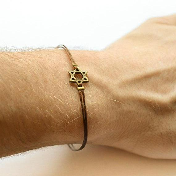 Star of David men's bracelet, bronze, gift for him, brown bracelet for men, Bar Mitzvah gift, Jewish, Hebrew Jewelry from Israel, spiritual
