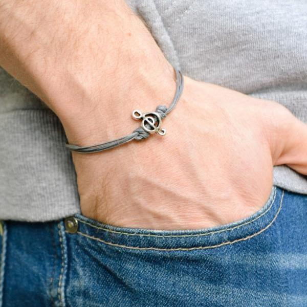 Treble clef bracelet for men, men's bracelet, silver music note charm, gray cords, guitar player, musician bracelet, g clef, mens jewelry