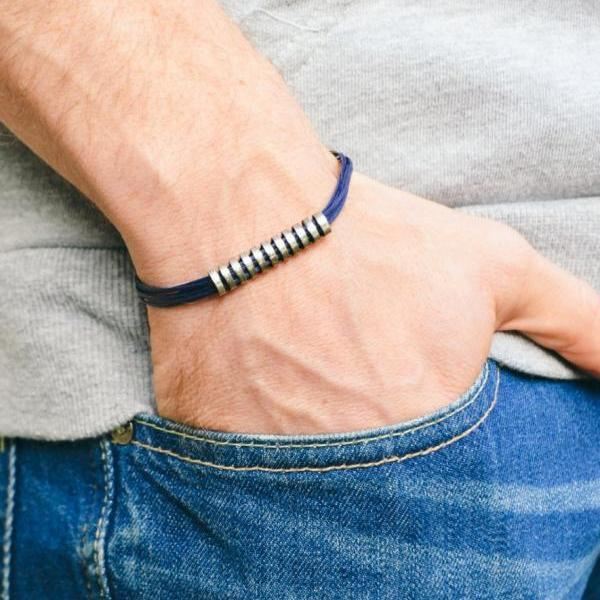 Men's bracelet, blue cord bracelet for men, long striped silver bar tube, bracelet for men, gift for boyfriend, mens jewelry, stack bracelet